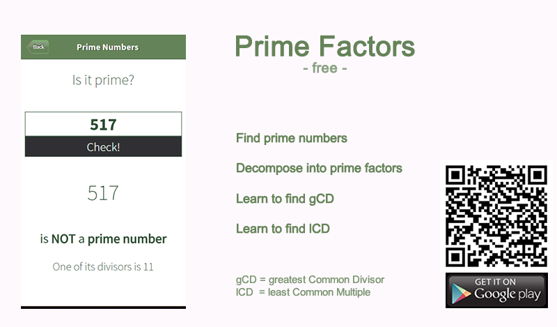 Download Free App Prime Factors to fin prime numbers